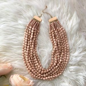 Handmade Peach Beaded Fashion Statement Necklace